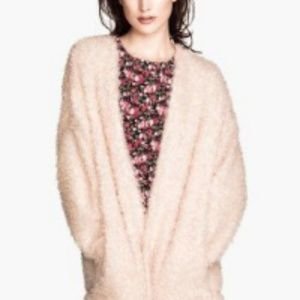 H&M Divided Pale Pink Fuzzy Cardigan Sweater